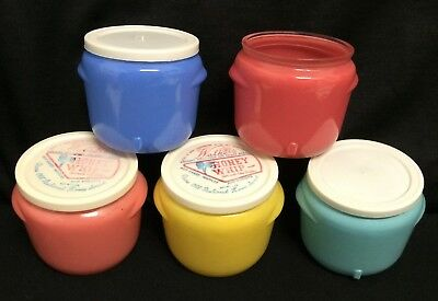 Vtg Walkers Honey Whip Glasbake Glass Jars Lids Pyrex Era Kitchen Canister Set