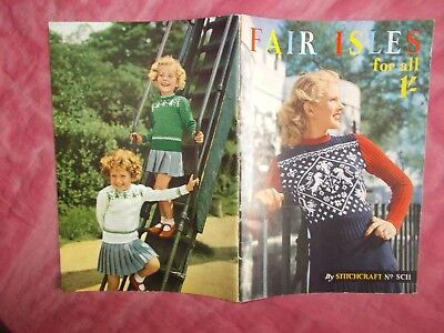 Fair Isle For All Vintage Knitting Pattern Book - Stitchcraft - In Vgc