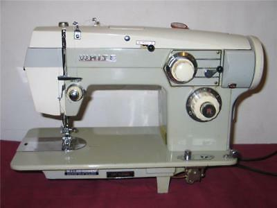 HEAVY DUTY WHITE SEWING MACHINE, model 468 Metal Gear, upholstery, & more