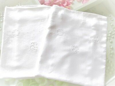 "Matching Pair Vintage French White Linen Pillowcases ""E L "" Monogram  Embroidery"