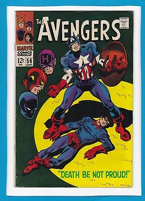 """Avengers #56_September 1968_Very Good_""""death Be Not Proud""""_Silver Age Marvel!"""