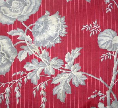 BEAUTIFUL 19th CENTURY FRENCH LINEN COTTON TOILE DE JOUY, HOPS POPPIES