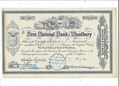 Stk-First National Bank of Woodbury New Jersey 1911 Nice vignette of animals
