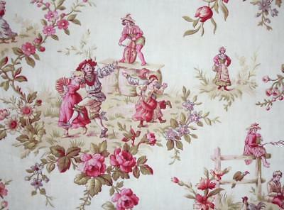 BEAUTIFUL 19th CENTURY FRENCH LINEN COTTON TOILE DE JOUY , REF PROJECTS