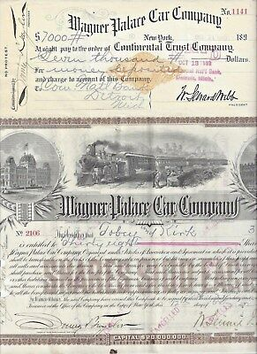 Stk & Check-Wagner Palace Car Co. Stk 1892 GREAT VIG. & 1899 Check for $7,000 RN