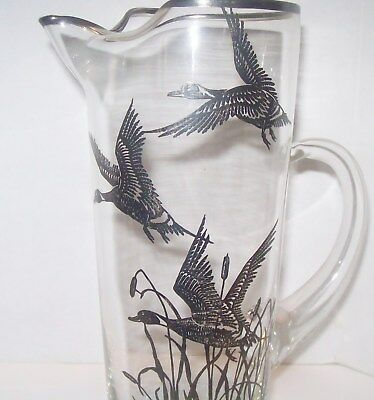 Vtg Silver Grey Goose Geese Duck Glass Pitcher with Stirrer Barware