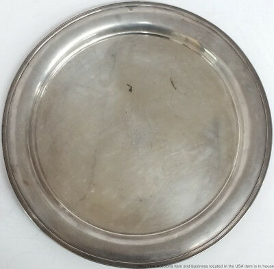 Large Tiffany Co Sterling Silver Family Crest Round Serving Tray Platter 14in