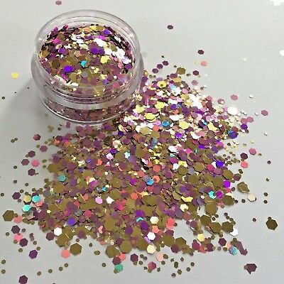 PINK CHAMPAGNE PINK/GOLD MIX chunky bling FESTIVAL FACE BODY NAIL glitter 10g