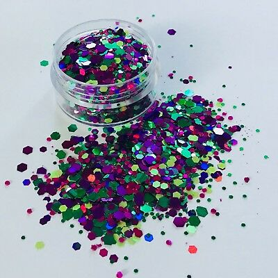 MERMAID JEWEL puple/green chunky bling FESTIVAL FACE BODY NAIL glitter mix 10g