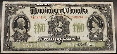 1914-Canada-$2-Dominion-of-Canada LARGE CURRENCY NOTE/BILL