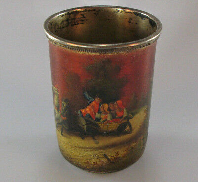 Antique Russian Silver Lacquer Hand Painted Cup Moscow 1908-1917