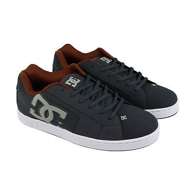 DC Net  Mens Gray Nubuck & Leather Sneakers Lace Up Skate Shoes