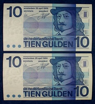 1968 Holland Netherlands Banknotes 10 Gulden Currency - 2 Notes