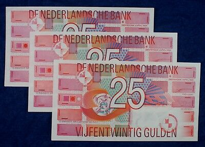 1984 Holland Netherlands Banknotes 25 Gulden Currency - 3 Notes