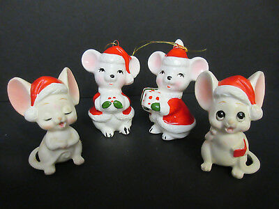 Lot of 4 VINTAGE CHRISTMAS LEFTON  AND MADE IN JAPAN ORNAMENTS Mouse Figurines -