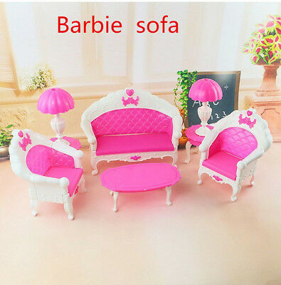 6PCS Barbie Dollhouse Furniture Living Room Sofa Set Couch Chair Table Armchair