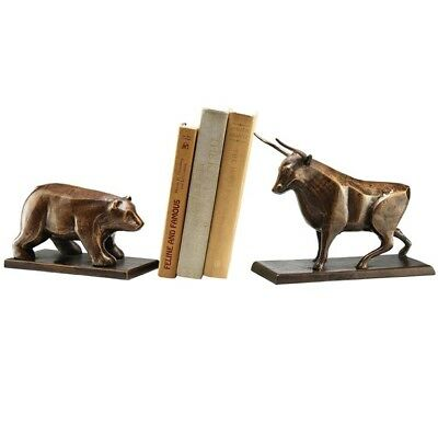 Heavy Cast Iron Bull And Bear Bookends,10.5''H
