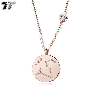 TT Rose Gold Stainless Steel Leo Constellation Pendant Necklace (NP378) 2018 NEW