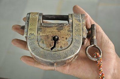 Old Iron Handcrafted Engraved Solid Heavy Unique Padlock , Rich Patina