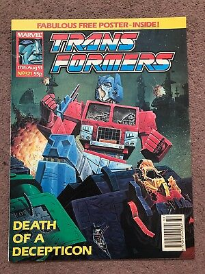 Transformers Comic Marvel Uk #321 Free Gift Poster Attached Rare Late Issue