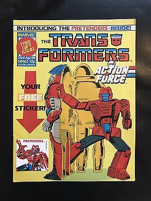 Transformers Comic Marvel Uk #162 With Free Gift Sticker Attached
