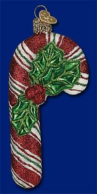 Old World Christmas Glistening Holly Candy Cane Glass Ornament 36150 FREE BOX