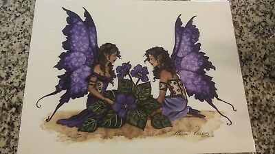 Amy Brown fairy African Violets Print. Faire Large New In Plastic Sleeve sisters