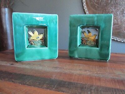 PAIR OF RARE VINTAGE GREEN McCoy BOOKENDS FLOWER VASES NESTING BIRDS THEME NICE