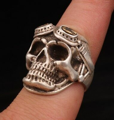 Unique Tibet silver miao-silver ring old exorcist skull sacred collection