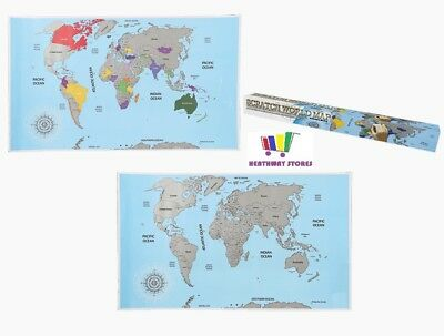 Scratch Off World Map Travellers Large 88X52Cm Poster Travel Holiday Wall Paper