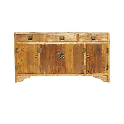 Chinese Rough Drift Wood Hardware Sideboard Buffet Table Cabinet cs4159