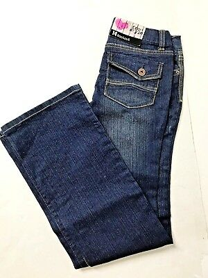 NWT FreeStyle Revolution Boot Cut Stretch Jeans Girls Size 14 Back Pocket Flaps