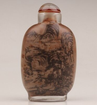 Valuable interior paintings Chinese glass snuff bottles old Snow mountain tree