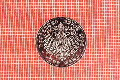 German States Prussia Currency, 1898, Wilhelm II, Silver 5 Mark Coin