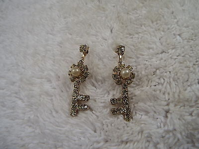 Goldtone Rhinestone Bead Skeleton Key Screwback Earrings (D66)