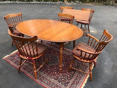 Vintage Hitchcock Dining Room Table, Chairs and Matched Hutch Maple