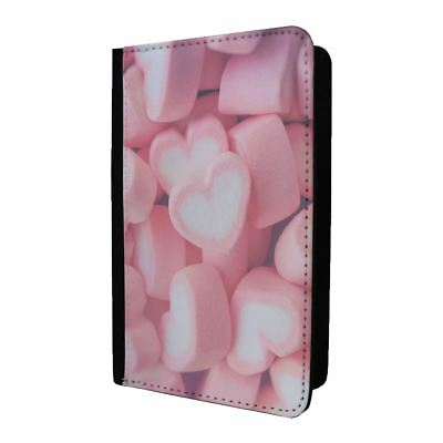Passport Holder Case Cover Pink & White Heart Sweets - S354