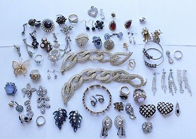 Large Lot of Vintage Rhinestone Jewelry Earrings, Necklace ReUse Repair