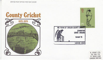 GB 1973 County Cricket Centenary FDC Lords CDS VGC