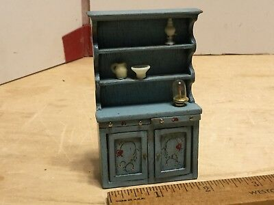 Artist made painted kitchen cabinet,w/accessories,1:24 scale,VGC,signed DC
