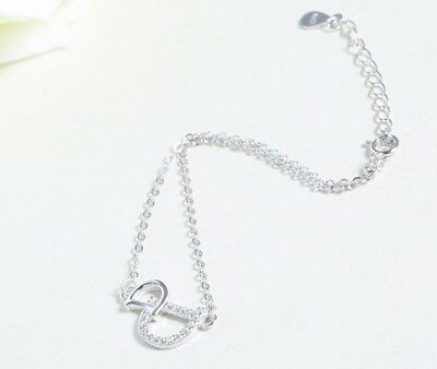 "Rhodium plated Sterling Silver Cubic Zirconia CZ Chain Bracelet 9"" Gift Box B13"