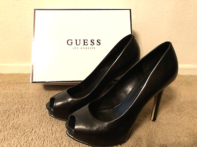 Guess Honora2 - Women's Black Leather Dress Heels - Size 8 - Worn 1 Time
