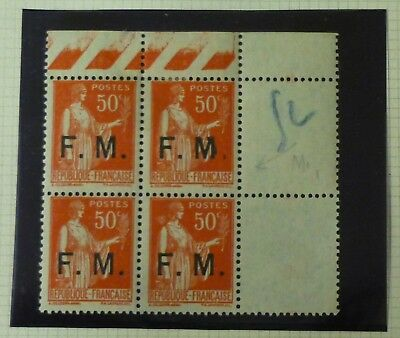 FRANCE 1933 50c Peace FM Military Frank block of 4 M stop flaw mint MNH SG M516