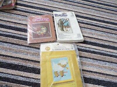 **3 x Vintage Sunset Jiffy Bucilla Crewel Embroidery Needlework Kits **