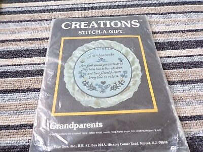 "**Vintage Create Your Own ""Grandparents"" Embroidery Kit with hoop **"