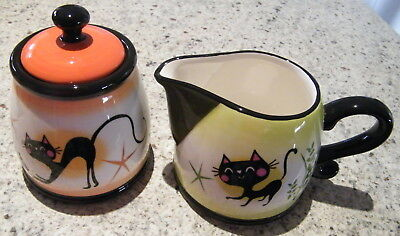 4 SETS of 2 Slinky Cat Sugar Bowl & Milk Cream / Creamer Serve Serving Set