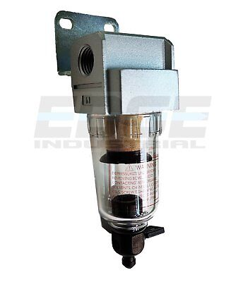 """Compressed Air In-Line Mini Particulate Filter / Water Trap 1/4"""" Npt 5 Micron"""