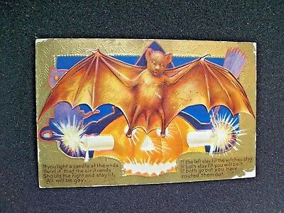Devil Bat Original Series 2 Embossed Vintage Halloween Gold Border Postcard #21