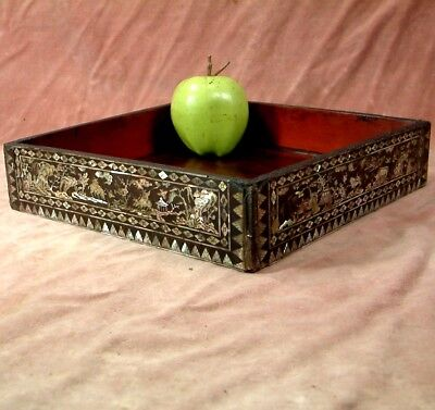 ANTIQUE CHINESE LACQUER FINE MOTHER of PEARL INLAID SCHOLARS STAND c1860