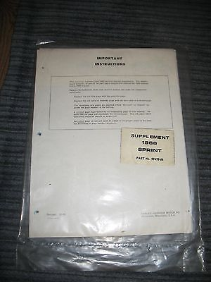 Vintage Harley Davidson 1966 Sprint Supplement Part No 99493-66